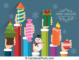 Christmas and New Year symbols and gifts