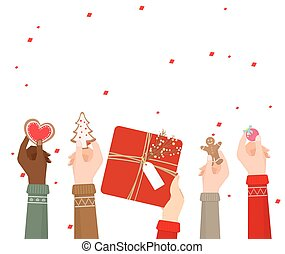 Hands holding christmas decoration on white