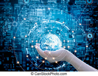 Hands holding circle global network connection on dark blue abstract background. This image elements furnished by NASA