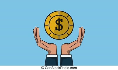Hands holding coin over blue background