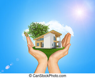 Hands holding cottage on green grass. Background of tree with leaves and cloud