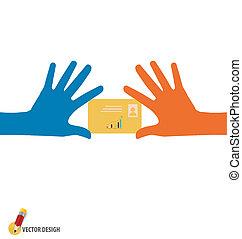 Hands holding credit card, vector illustration.