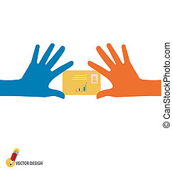 Hands holding credit card, vector illustration.