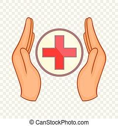Hands holding cross icon, cartoon style