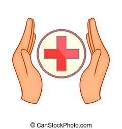 Hands holding cross icon, cartoon style