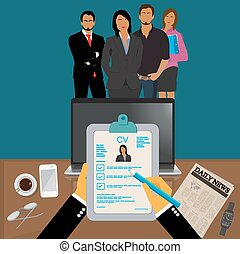 Hands holding CV profile