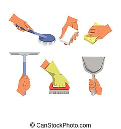 Hands holding different tools for cleaning on white...