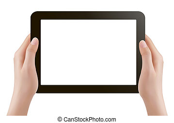 Hands holding digital tablet pc. Vector illustration