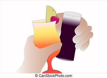 hands holding drinkes