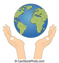 Hands holding earth globe with care. Ecology concept