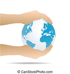 Hands Holding Earth, Illustration