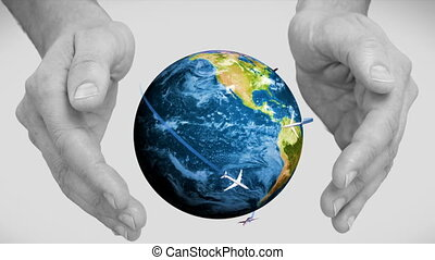 Digitally generated of hands holding earth on gray background