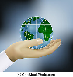 hands holding earth vector