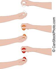 Hands holding easter eggs
