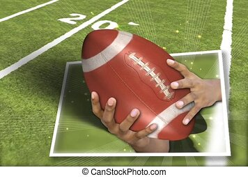 Hands Holding Football on Field Background