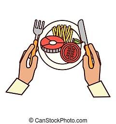 hands holding fork knife dinner