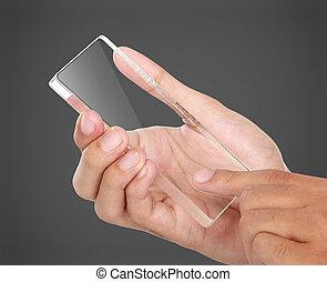hands holding futuristic transparent mobile phone