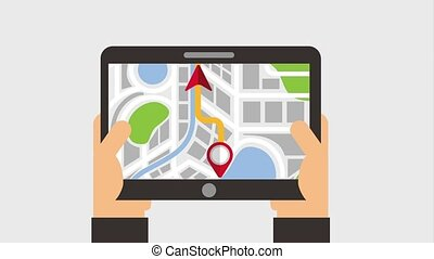 hands holding gadget with navigation pin map location