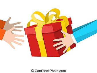 Hands Holding Gift Box - Delivery Service Symbol.