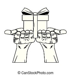 Hands holding giftbox pop art in black and white