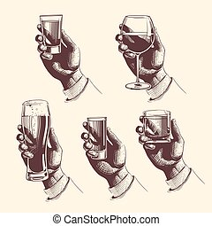 Hands holding glasses with drinks beer, tequila, vodka, rum, whiskey, wine. vector engraved illustration