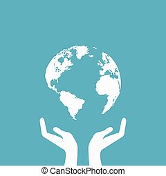 hands holding globe earth web icon. save earth concept