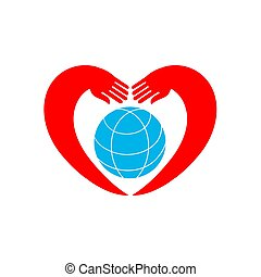 Hands holding globe earth web icon.