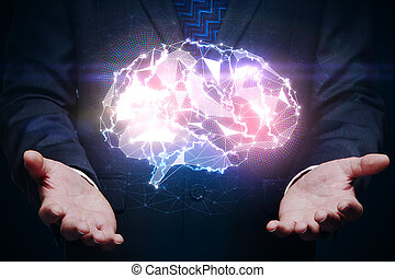 Hands holding gloiwng brain, innovation concept