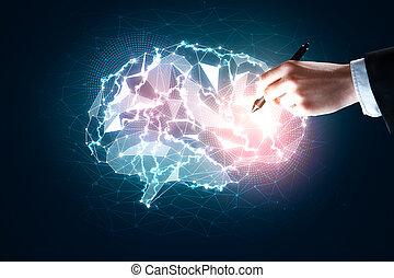 Hands holding gloiwng brain, knoweldge concept