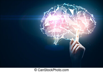 Hands holding gloiwng brain, technology concept
