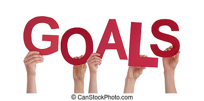 Hands Holding Goals - Many Hands Holding the Red Word Goals,...