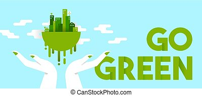 Hands holding green city for planet ecology