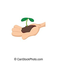 Hands holding green sprout icon