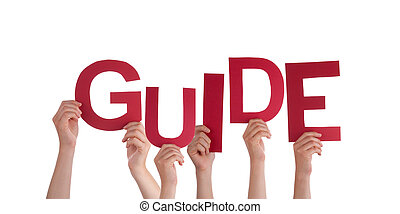 Hands Holding Guide - Many Hands Holding the red Word Guide,...