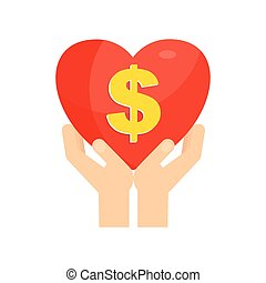 hands holding heart dollar