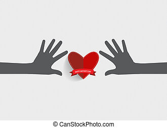 Hands holding heart., Heart paper with ribbon. Vector illustration.
