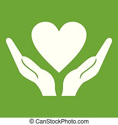 Hands holding heart icon green