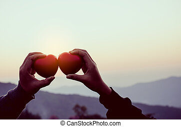 hands holding heart in shape of love
