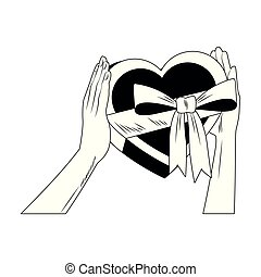 Hands holding heart shape giftbox pop art in black and white