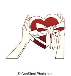 Hands holding heart shape giftbox pop art red lines