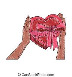 Hands holding heart shape giftbox pop art scribble