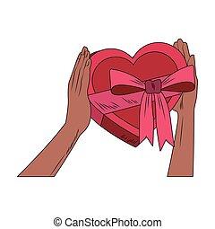 Hands holding heart shape giftbox pop art