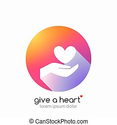 Hands holding heart symbol, abstract gradient, flat shadow.