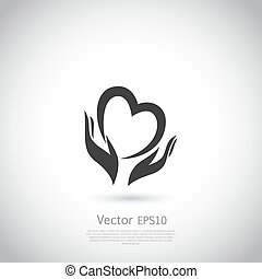 Hands holding heart symbol, sign, icon, logo template for charity, health, voluntary, non profit organization.