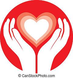 hands holding heart - vector illustration