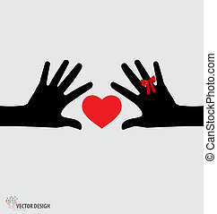 Hands holding heart. Vector illustration.
