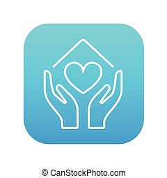Hands holding house symbol with heart shape line icon. - ...