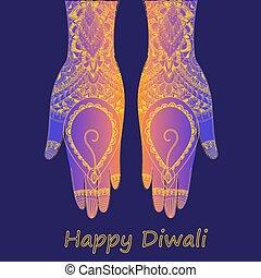 Hands holding Indian diya, Diwali festival