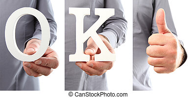 Hands holding letter text ok word