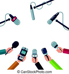 Hands holding microphones, press conference vector concept -...